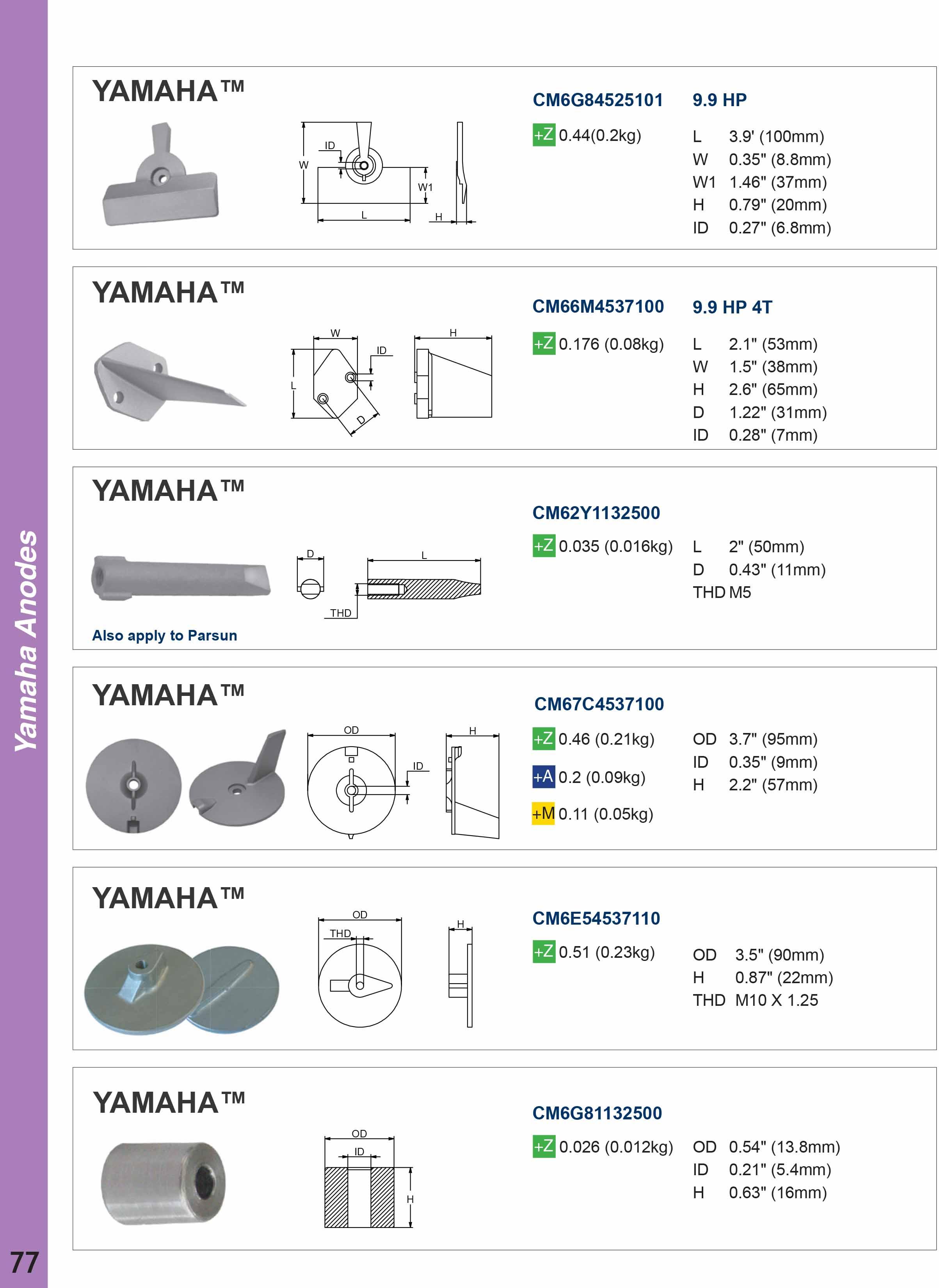 Yamaha Deniz Motoru Tutya ve Anodları