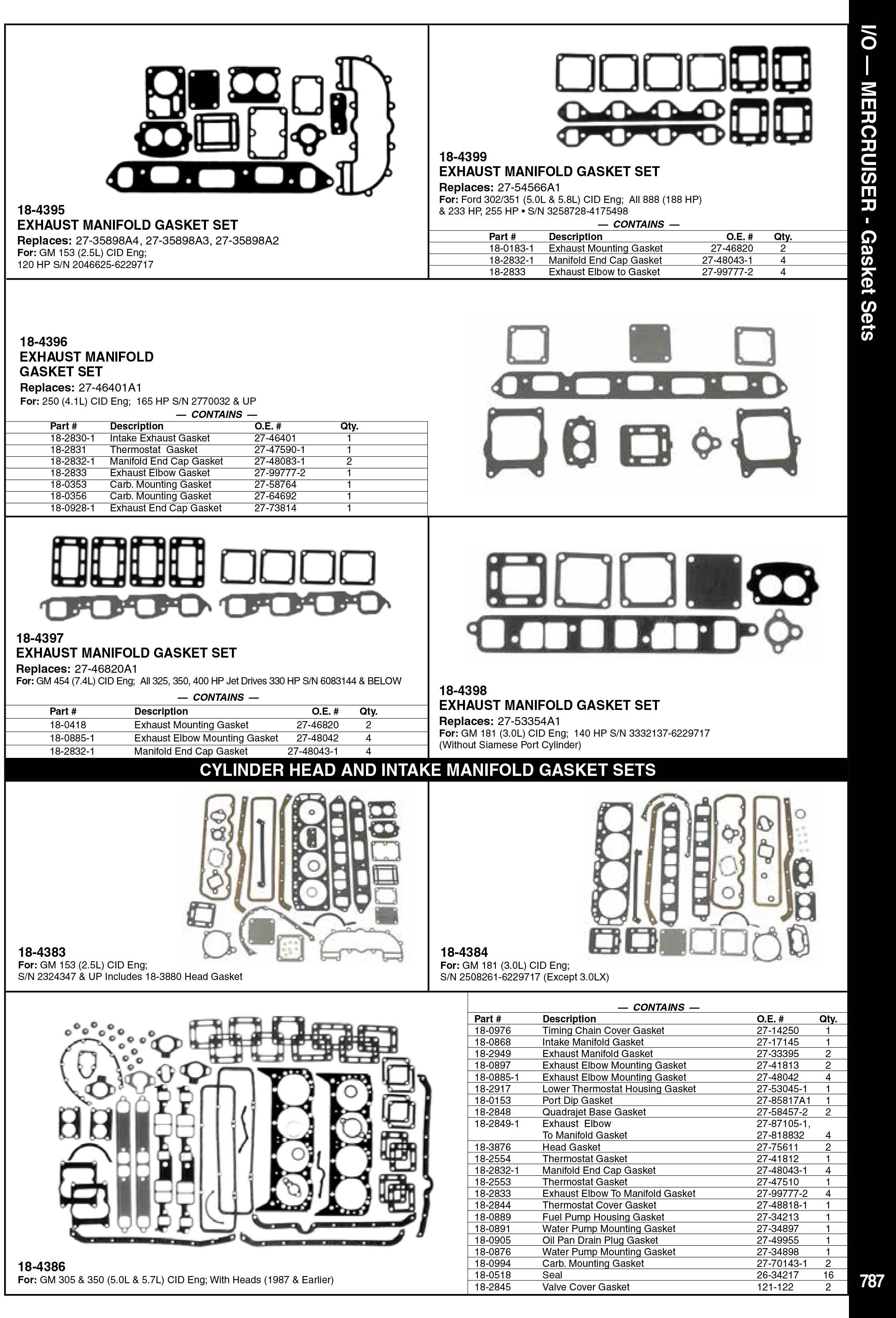 Mercruiser Deniz Motoru Conta Takımı ve Kitleri