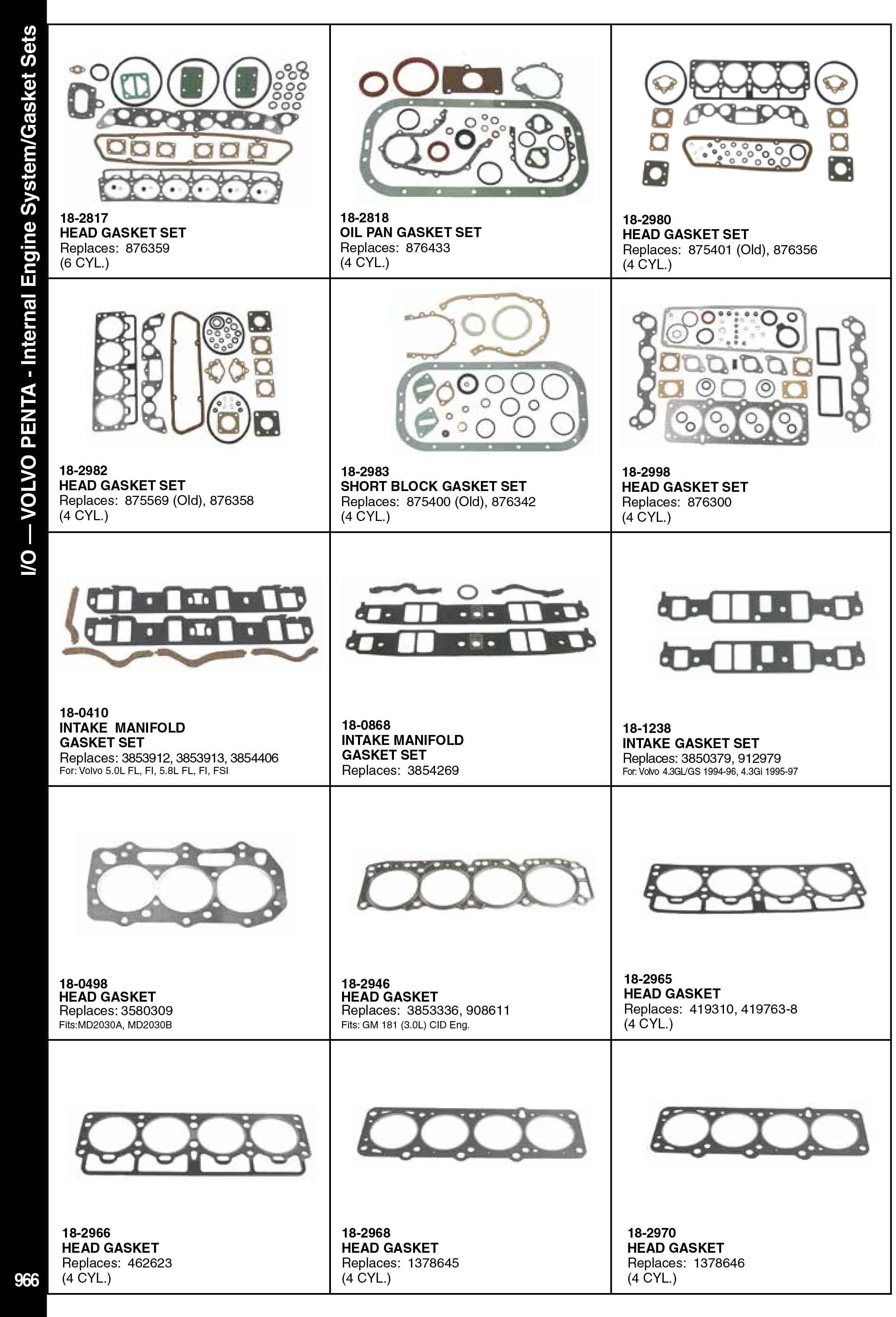 Volvo Penta Deniz Motoru Conta Takımı ve Kitleri